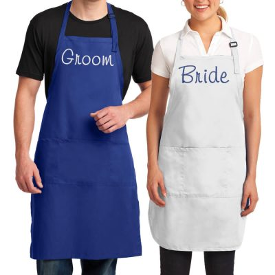 Embroidered Bride & Groom Apron Set