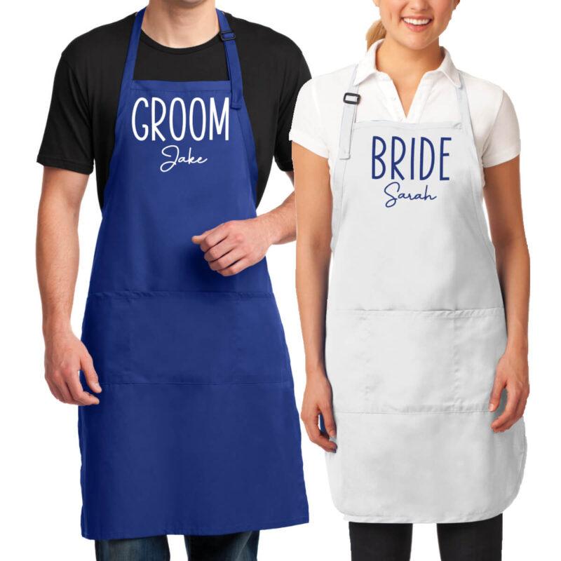 Embroidered Bride & Groom Apron Set