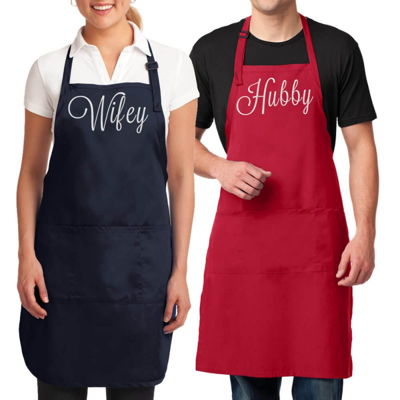 Embroidered Wifey & Hubby Apron Set
