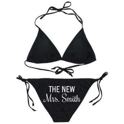 "Personalized ""The New Mrs."" Rhinestone Bride Bathing Suit"