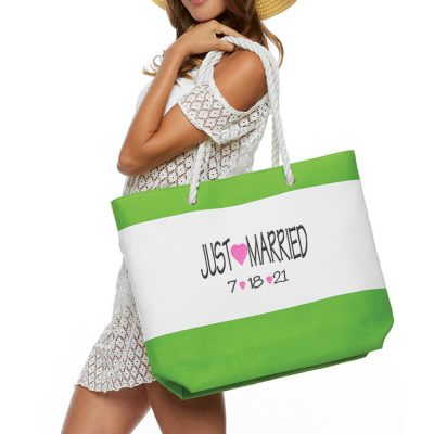 """Just Married"" Beach Bag with Rope Handles"