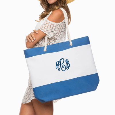 Large Monogrammed Beach Bag - Stripes