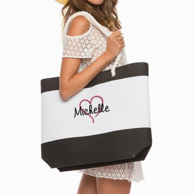 Personalized Beach Bag with Rope Handles - Name & Heart