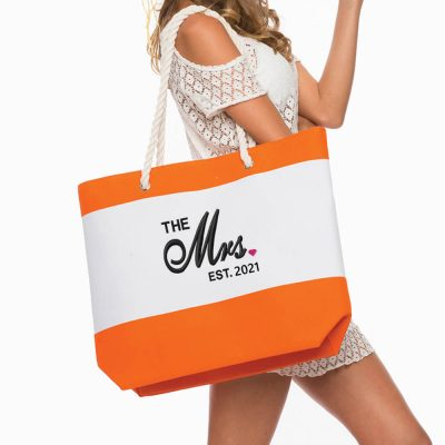"Personalized ""The Mrs.""  Bride Beach Bag with Rope Handles"