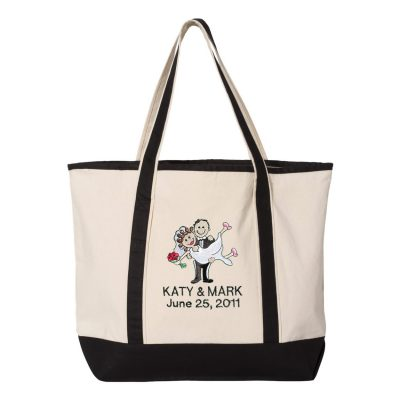 Bride and Groom Tote Bag with Names and Date