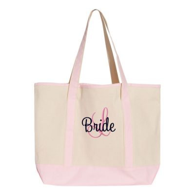 Personalized Bride Tote Bag with Initial