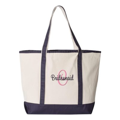 Personalized Bridesmaid Tote Bag with Initial
