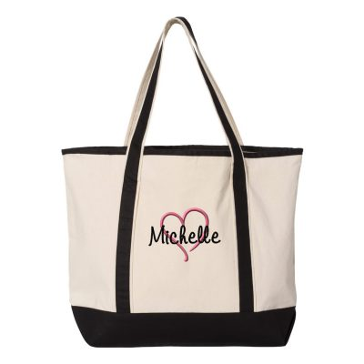 Personalized Tote Bag with Name & Heart