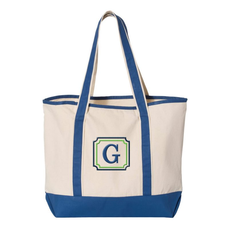 Monogrammed Bridal Party Tote Bag with Border