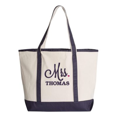 "Personalized ""Mrs."" Bride Tote Bag with Heart"