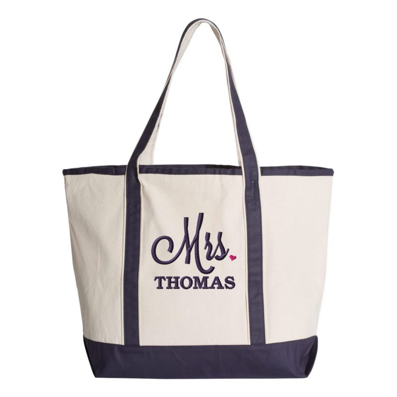 """Personalized """"Mrs."""" Bride Tote Bag with Heart"""