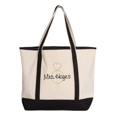 """Mrs."" Embroidered Diamond Ring Tote Bag with Rhinestone Accents"