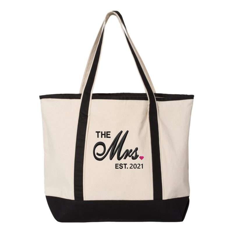 "Personalized ""The Mrs."" Tote Bag with Date"