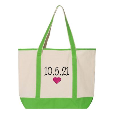 Personalized Bride Tote Bag with Date & Heart
