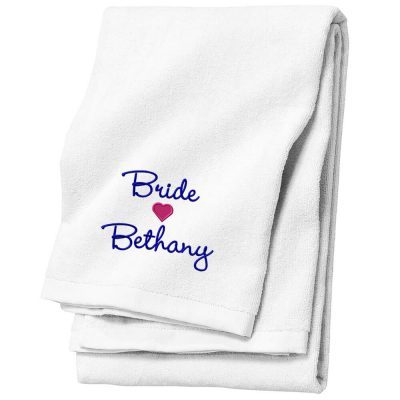 Personalized Bride Beach Towel with Name & Heart