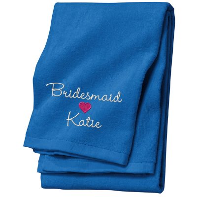 Personalized Bridal Party Beach Towel with Name & Heart