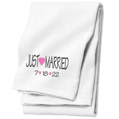 "Embroidered ""Just Married"" Bride Beach Towel"