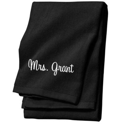 "Personalized ""Mrs."" Bride Velour Beach Towel"