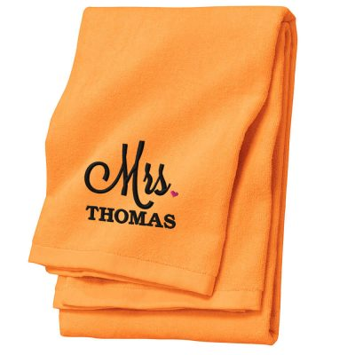 "Personalized ""Mrs."" Bride Beach Towel with Heart"