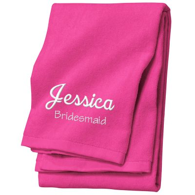 Personalized Bridal Party Velour Beach Towel with Name