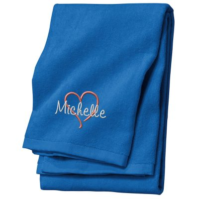Personalized Velour Beach Towel with Name & Heart