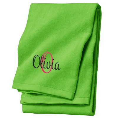 Personalized Velour Beach Towel with Name and Initial