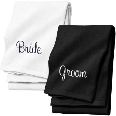 Personalized Velour Bride & Groom Beach Towel Set