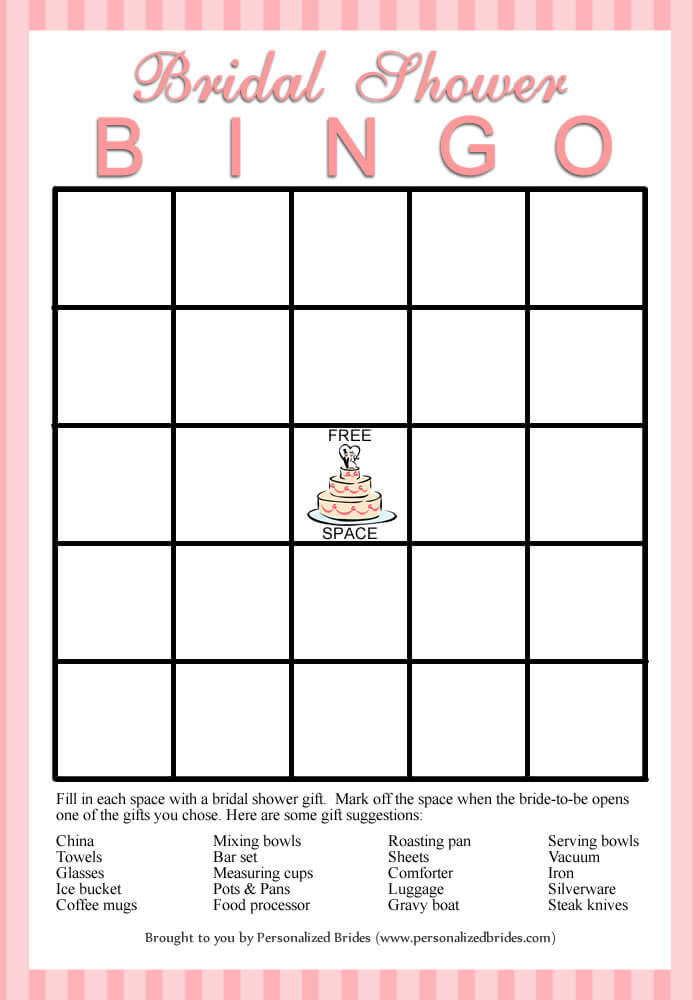 Bridal Shower Bingo - Pink Stripe