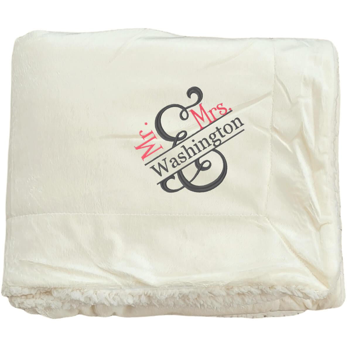 Embroidered Mr. & Mrs. Plush Sherpa Blanket