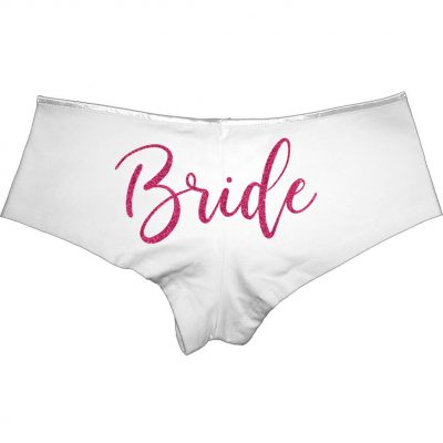Personalized Bride Rhinestone Boyshorts with Ring (Back)