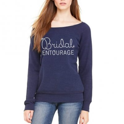 "Rhinestone ""Bridal Entourage"" Wide Neck Sweatshirt"