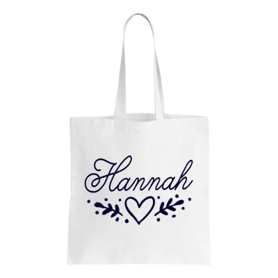 Canvas Bridal Party Tote Bag with Name & Heart Laurel
