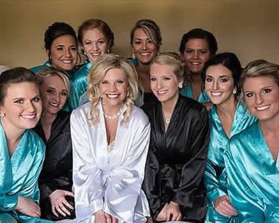 Turquoise & Black Satin Bridal Party Robes
