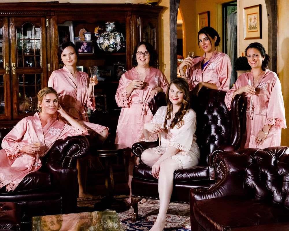 Dusty Rose Lace Bridal Party Robes