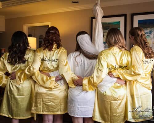 Yellow Satin Bridesmaid Robes