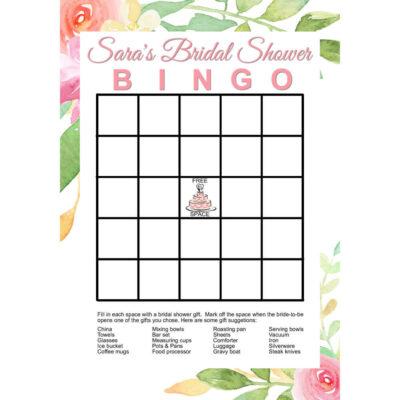 Personalized Printable Bridal Shower Bingo Game - Floral