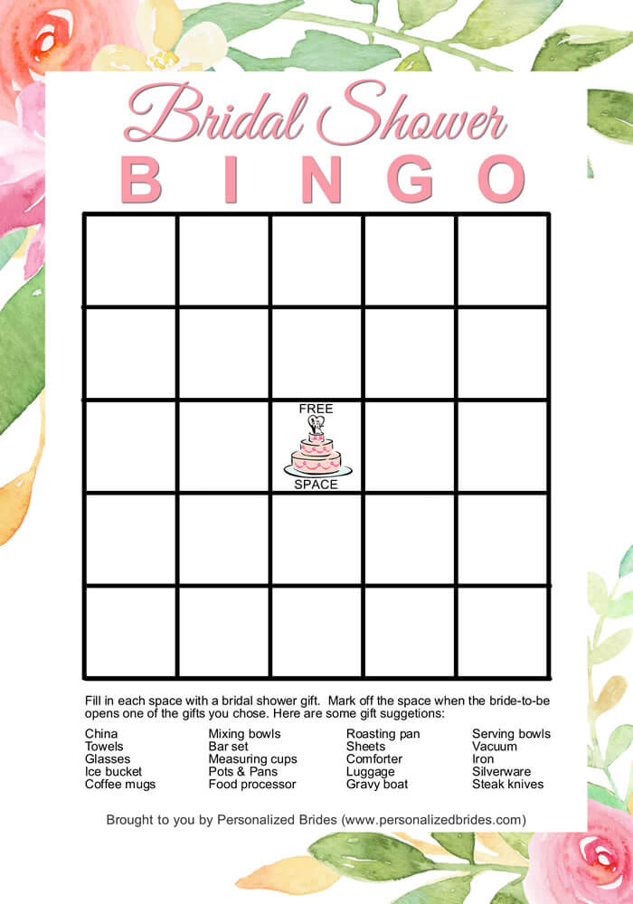 Bridal Shower Bingo Printable Game - Floral