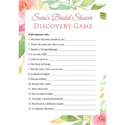 Personalized Printable Bridal Shower Discovery Game - Floral