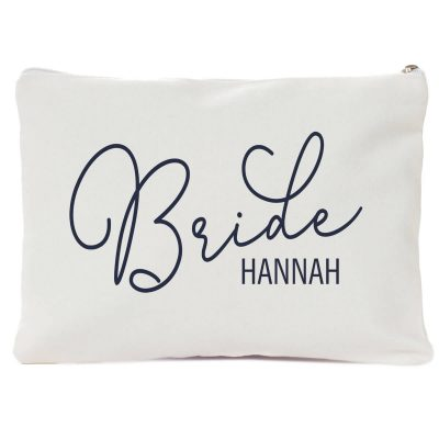 Bride Canvas Cosmetic Pouch with Name
