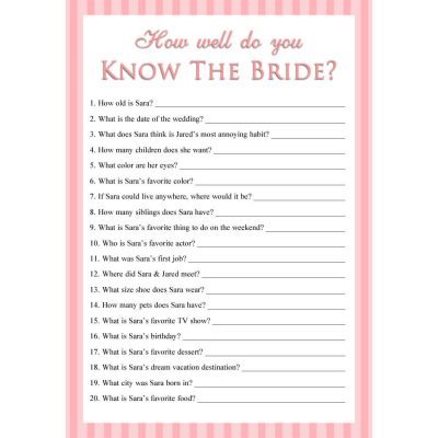 Personalized Printable How Well Do You Know The Bride Game - Stripes