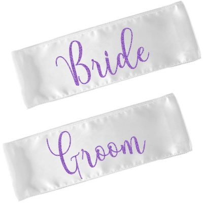 Bride And Groom Chair Sashes Set Personalized Brides