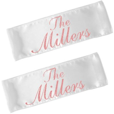 Personalized Bride and Groom Chair Sashes with Name (Set)