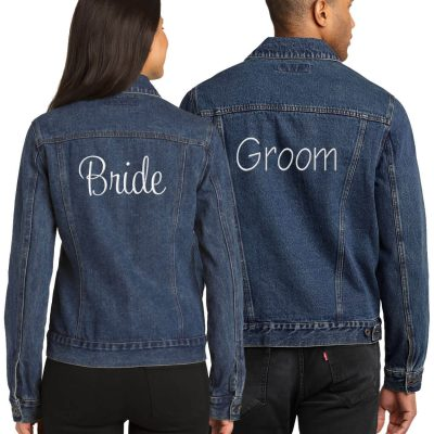 Bride & Groom Jean Jacket Set - Embroidered