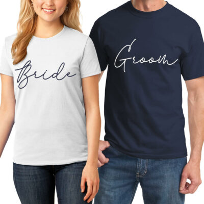 Bride & Groom T-Shirt Set - Script