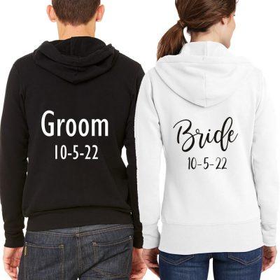 Personalized Full-Zip Bride & Groom Hoodie Set with Date