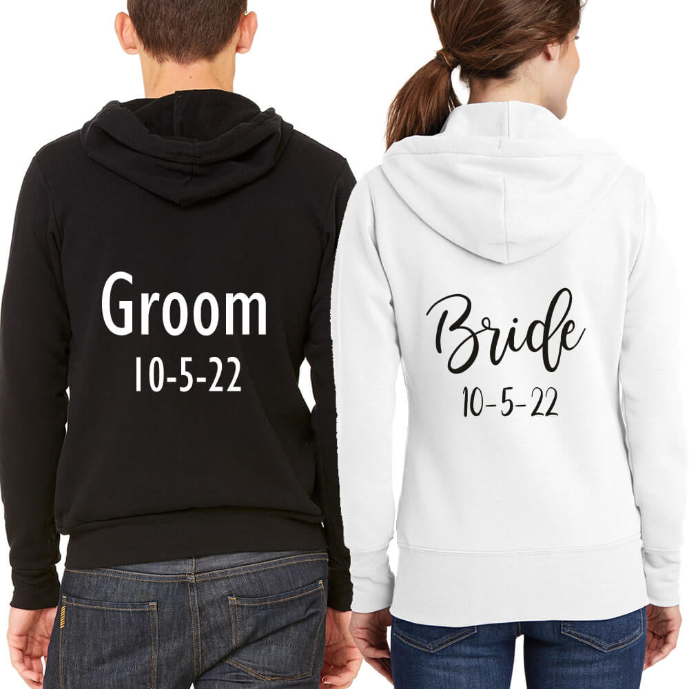 Personalized Full-Zip Bride & Groom Hoodie Set with Date