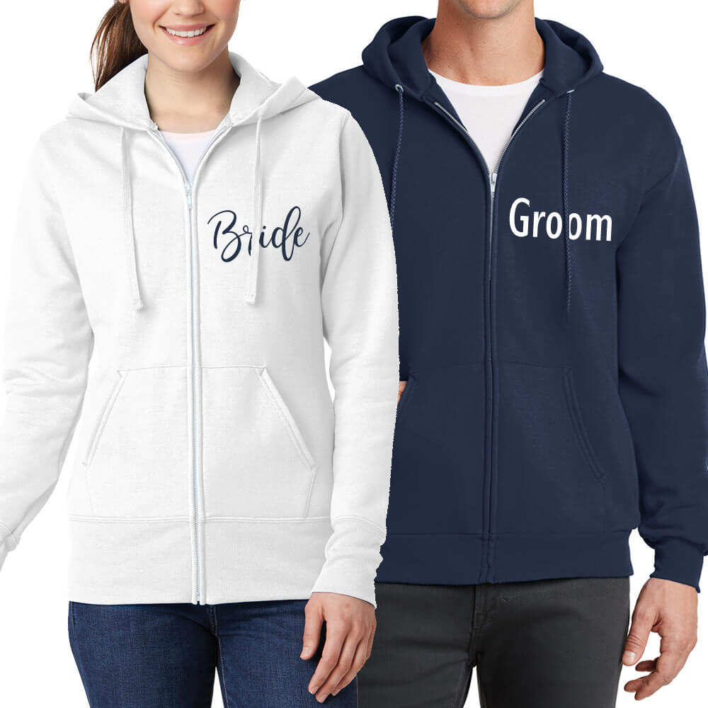 Personalized Full-Zip Bride & Groom Hoodie Set
