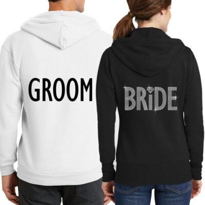 Personalized Full-Zip Bride & Groom Hoodie Set (Back)