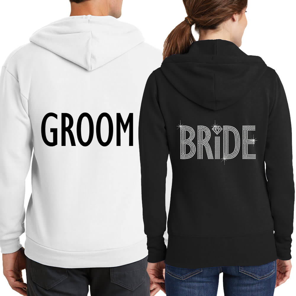 Personalized Full-Zip Bride & Groom Hoodie Set (Back)