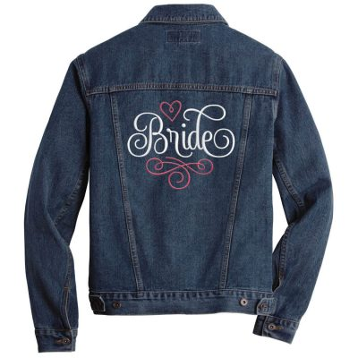 Embroidered Bride Jean Jacket - Swirl